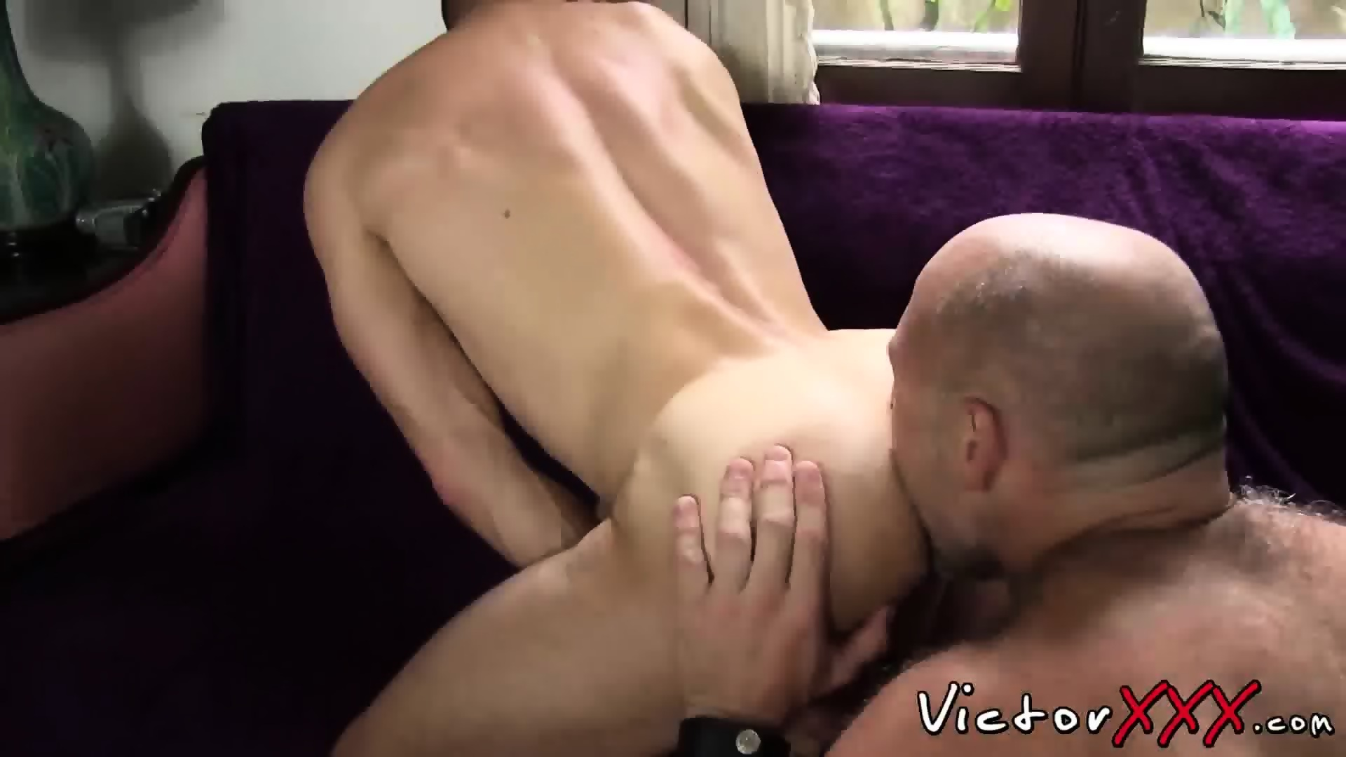 Two hairy daddies in hot hardcore sex action