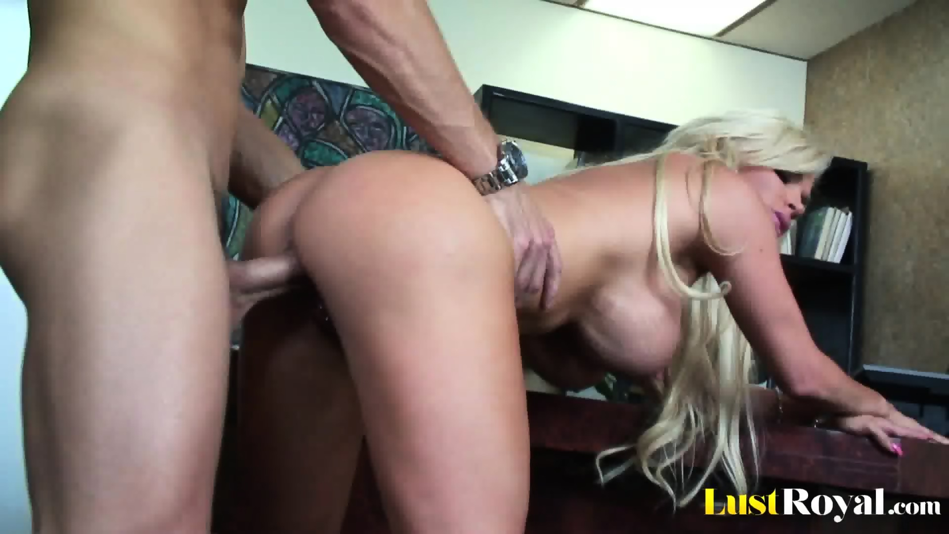 Blonde is ready for 2 cocks