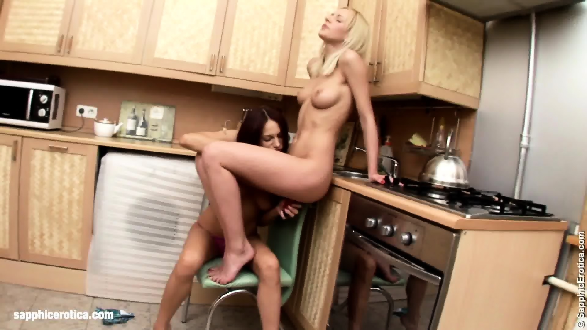 Intense Twosome With Questa And Wendie On Sapphic Erotica Hot Lesbian Sex  In The Kitchen -
