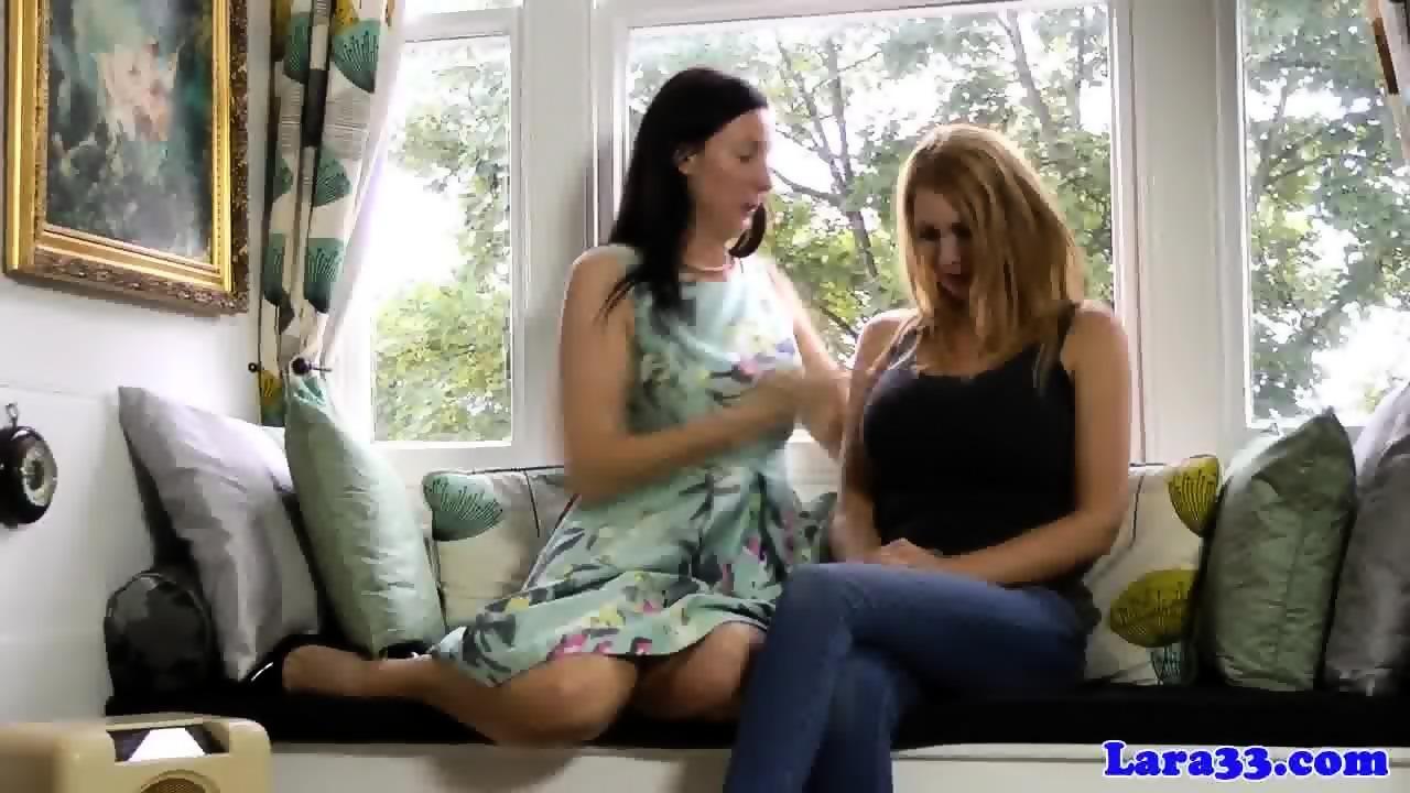 Masturbating lesbian milfs simulate phone sex