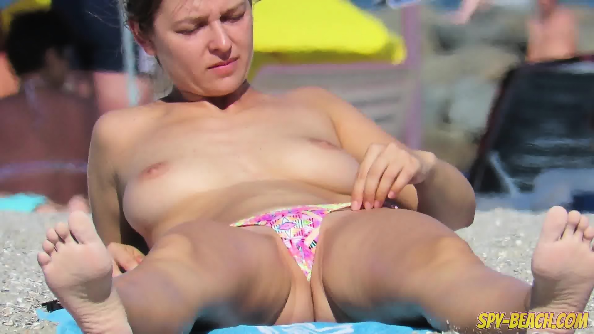 Close bikini voyeur up beach