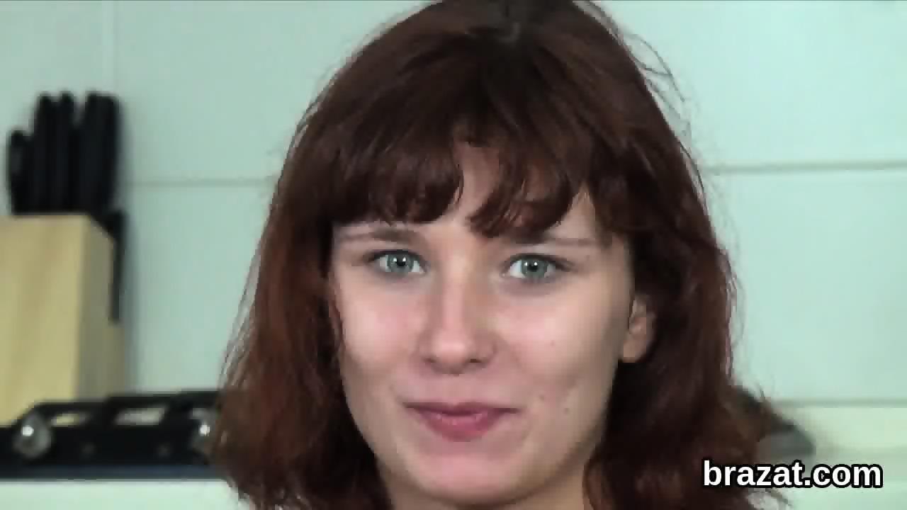 Sexy brunette masturbates on bed