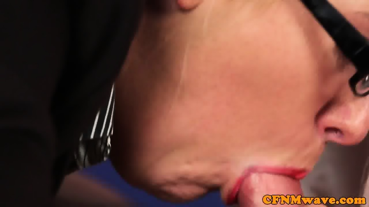 Office femdoms cocksucking sub on desk