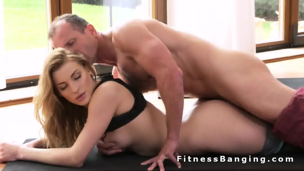 Busty babe teasing he trainer