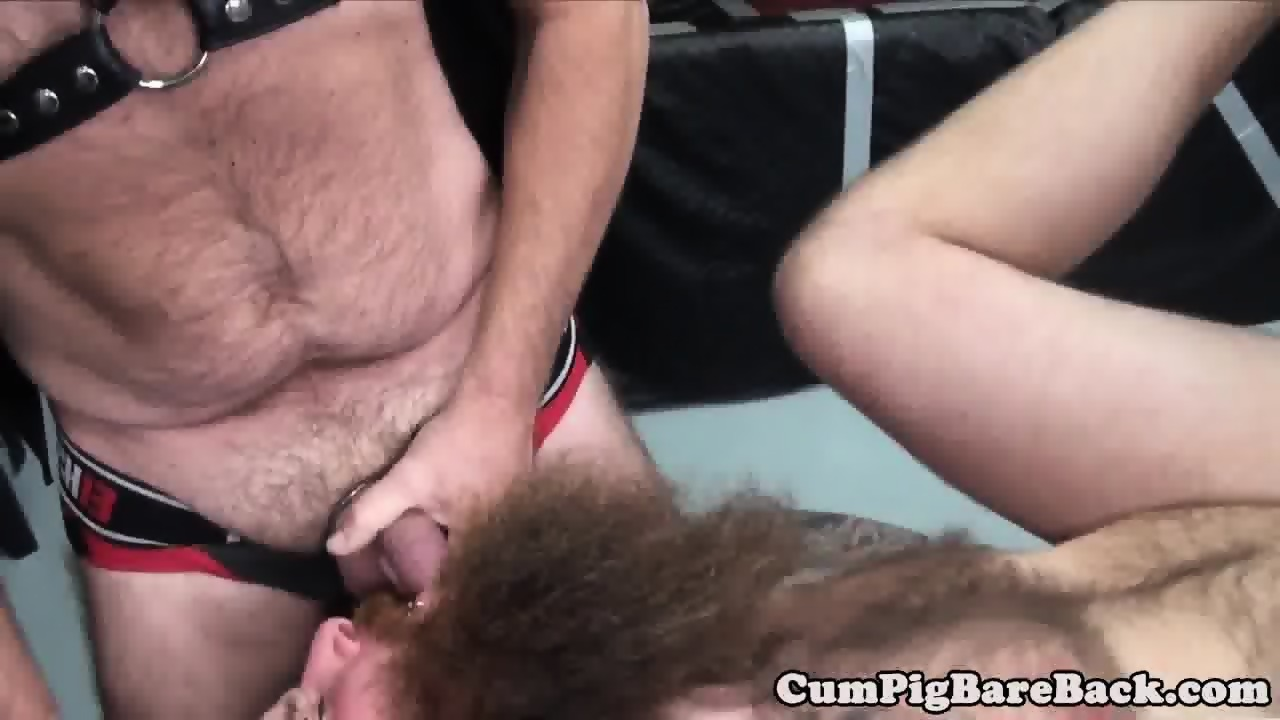 Cocksucking bear fucked in ass in a threeway
