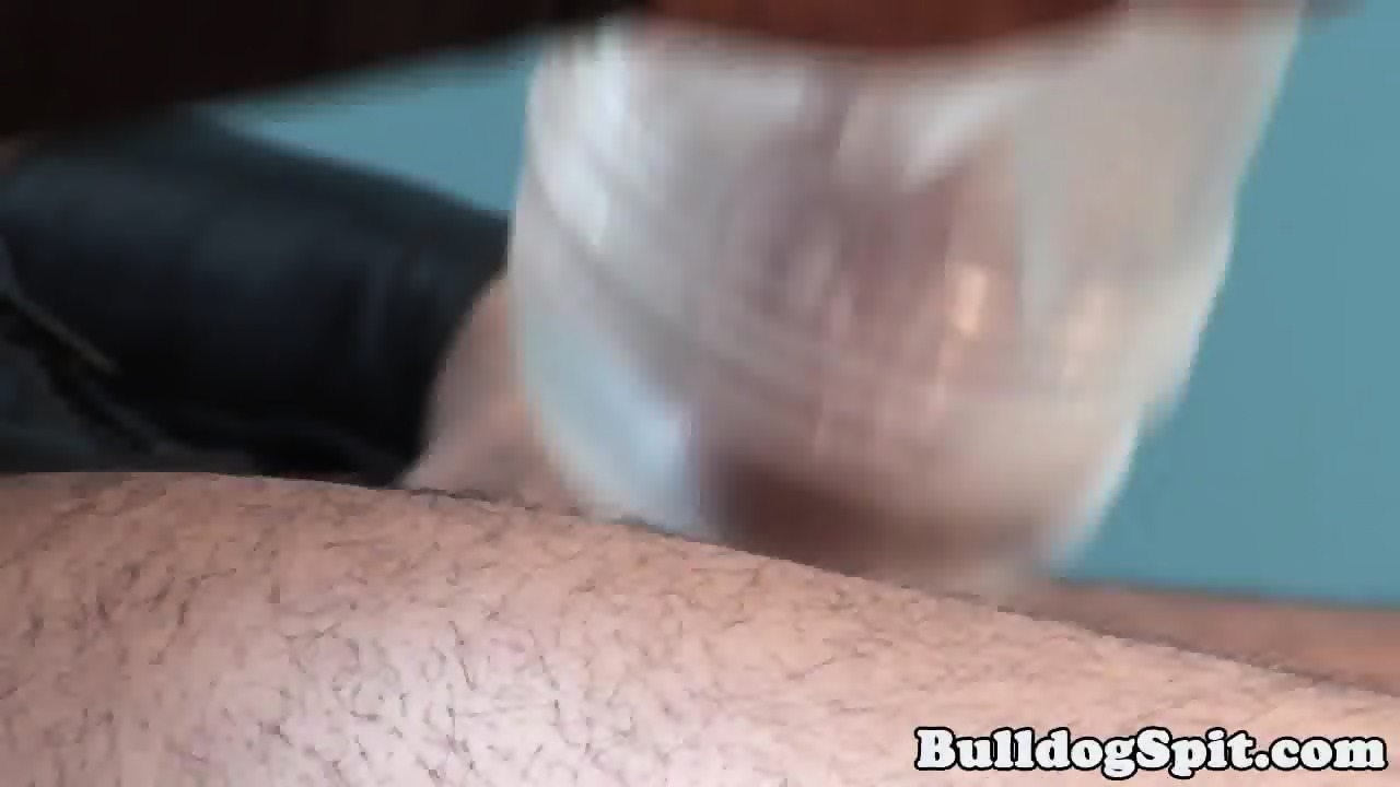 Solo leather bear jerking his hard cock - scene 11