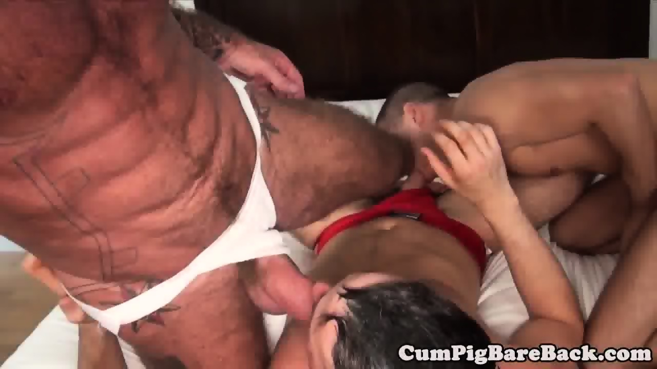 Mature bear barebacked in hoist threesome