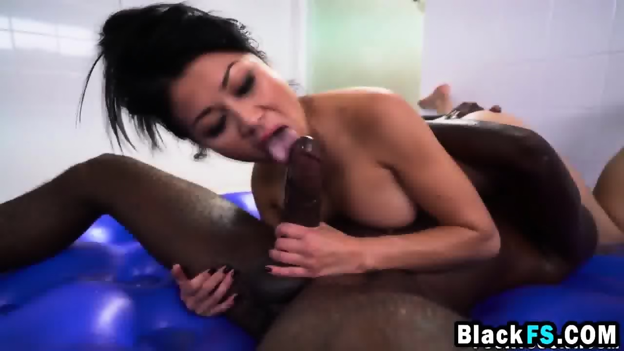 Jackie Lin getting her pussy and throat fucked hard by a big black cock -  scene