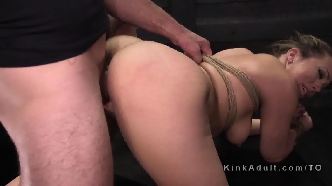 Slave and hot brunette fuck