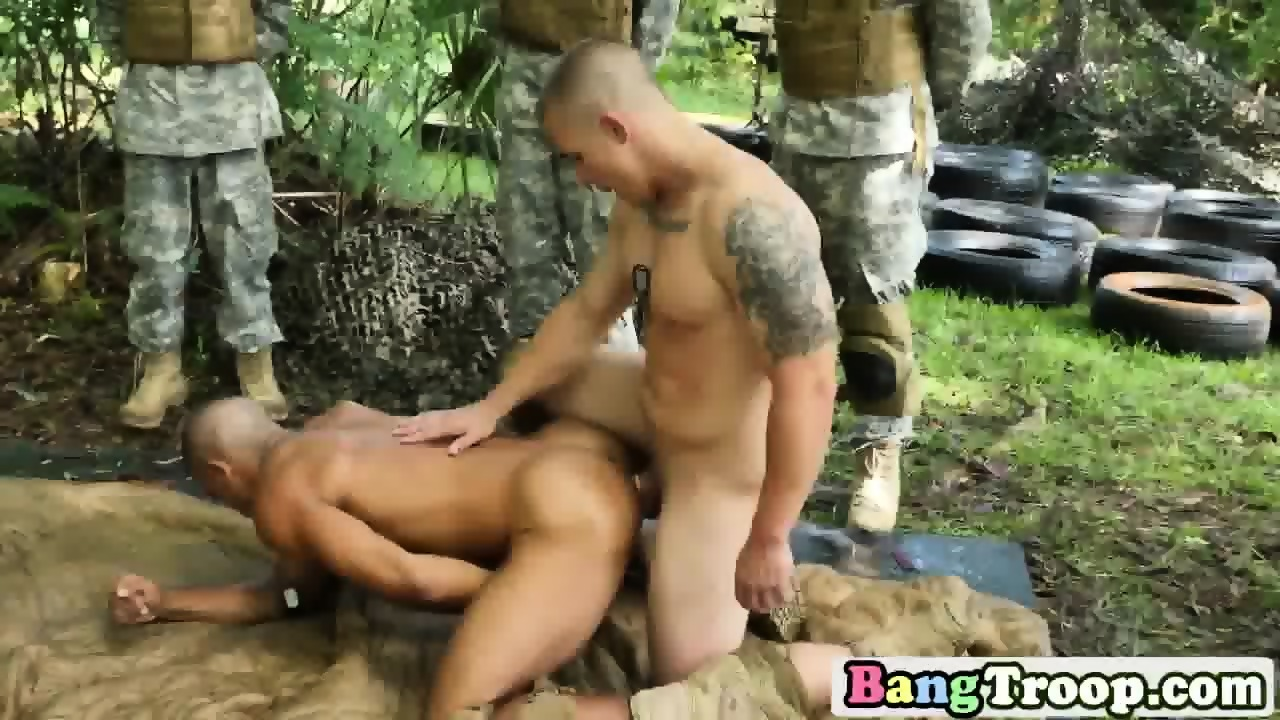 Soldier gives head and gets ass filled