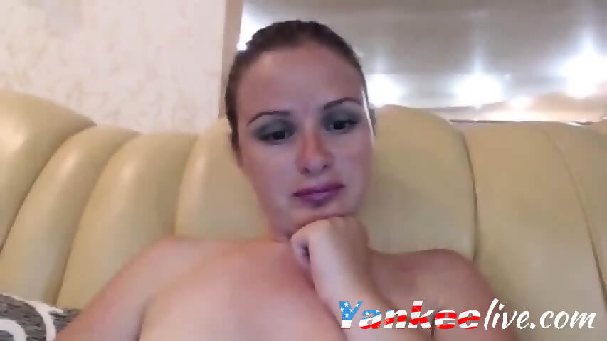 Blonde teasing in front of cam
