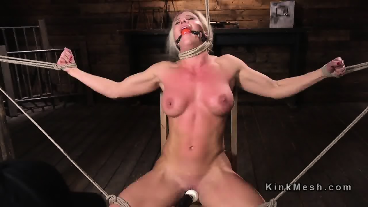 Tied up blonde got big tits whipped - scene 2
