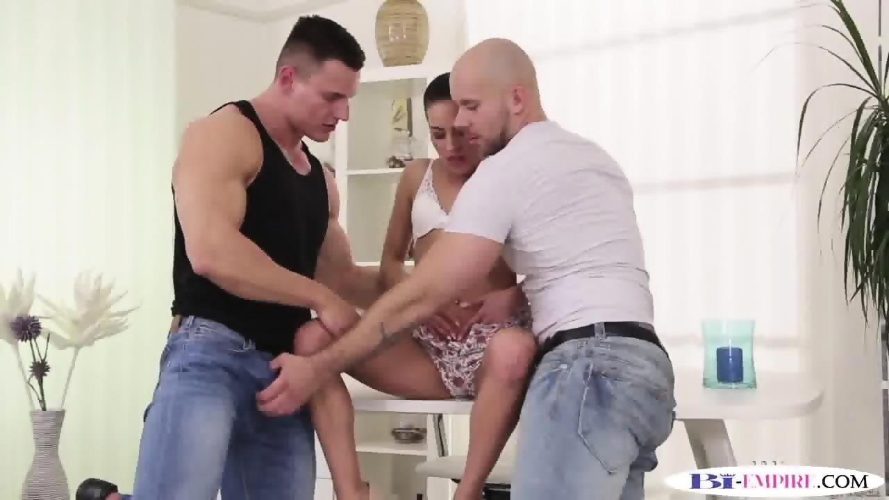 Muscle trio ass fuck