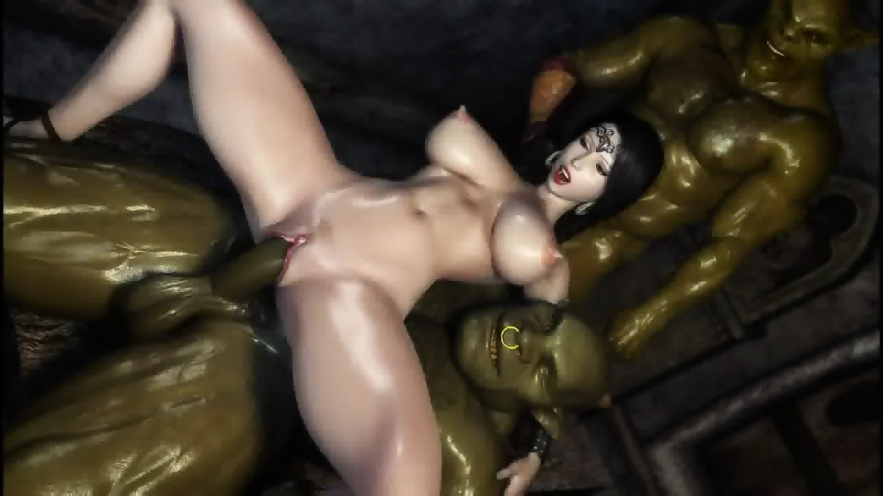 3D Hebtai 3d hentai two orcs find some sexy milf in a basement cartoon