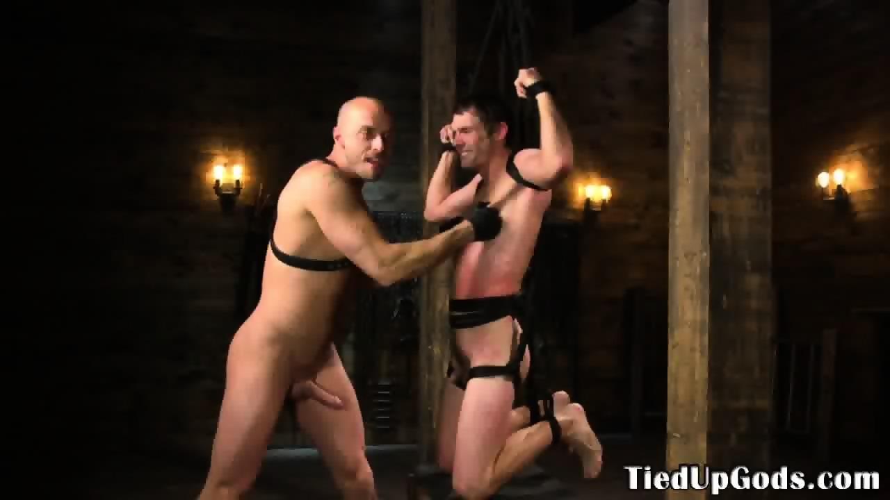 Suspended Sub Deepthroating Hunks Dick