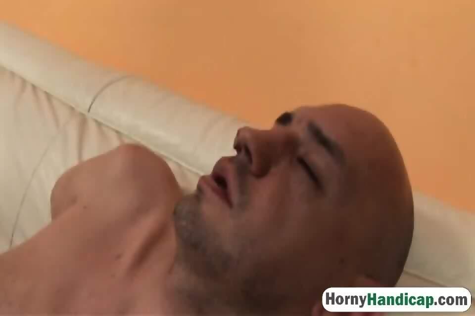 Stunning model sucks and fucks armless man - scene 5
