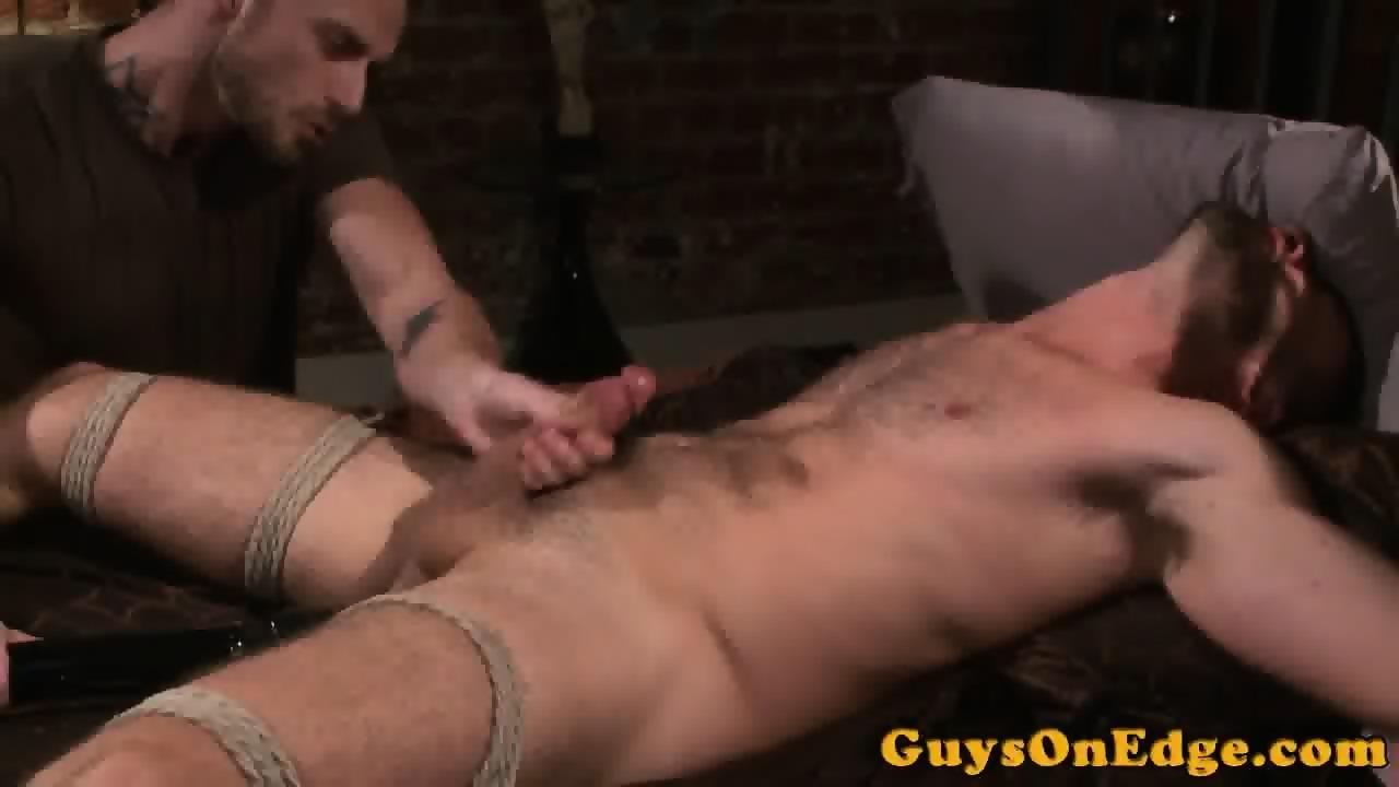bound gay handjob