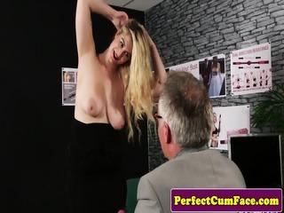 Busty british babe cocksucking until facial