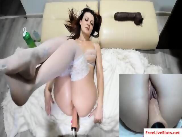 Stockings girl gets railed fucking machine