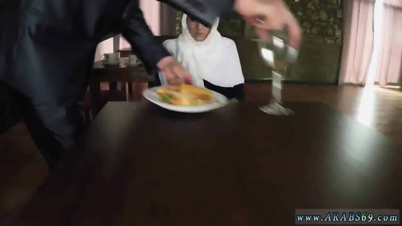 Muslim interracial hungry woman gets food