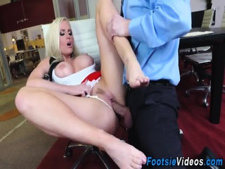 Foot fetish babe has anal