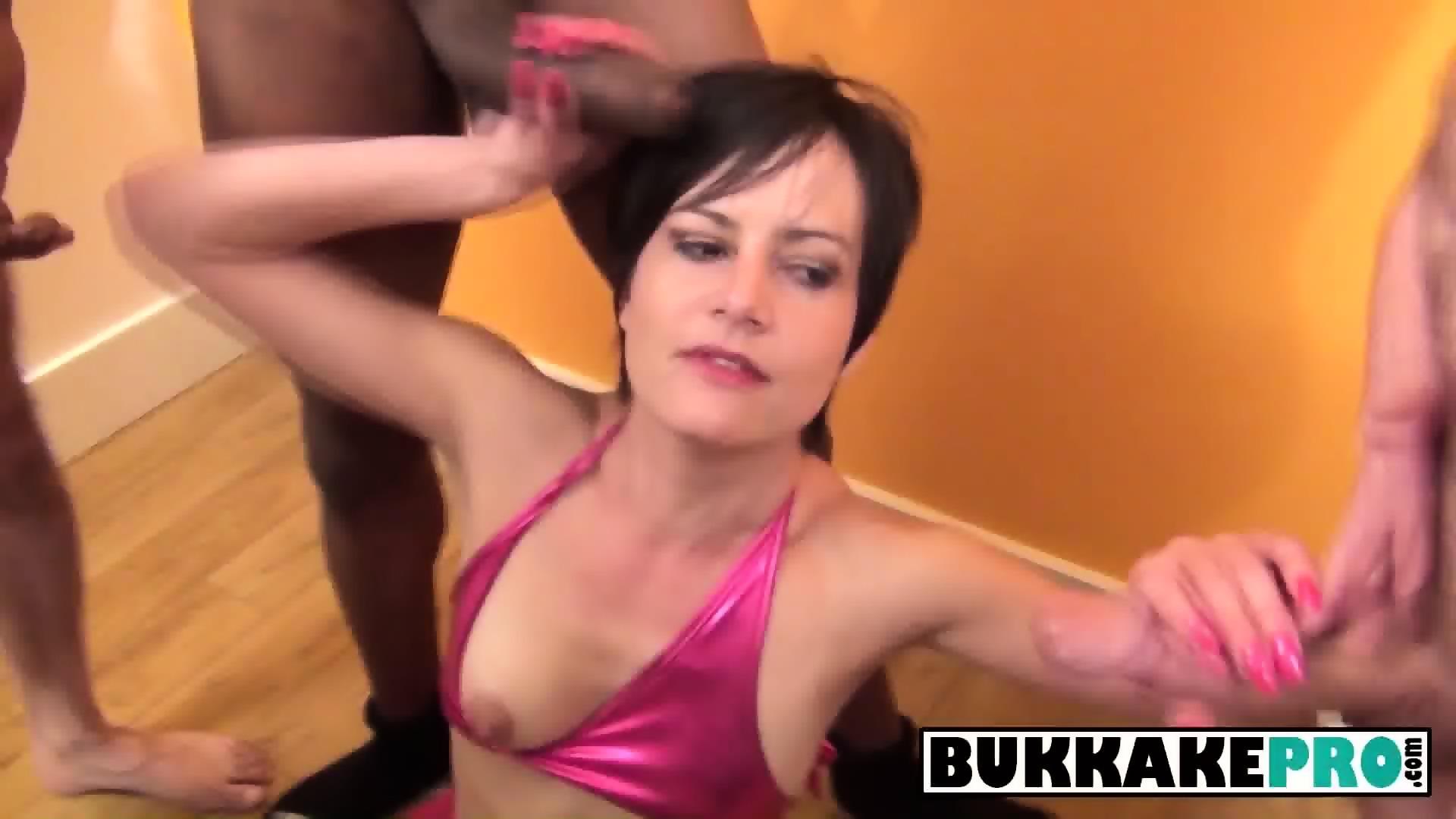 Girl sucking multiple cocks