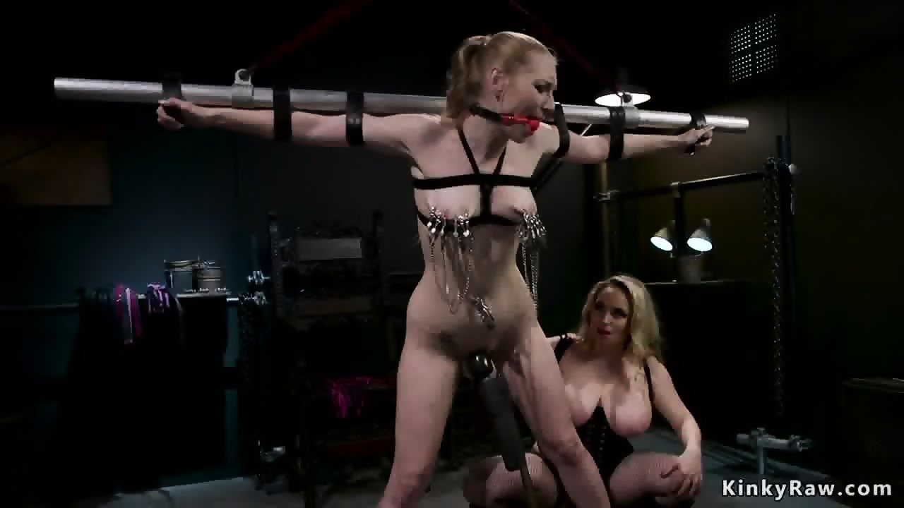 glasses Busty dominatrix with