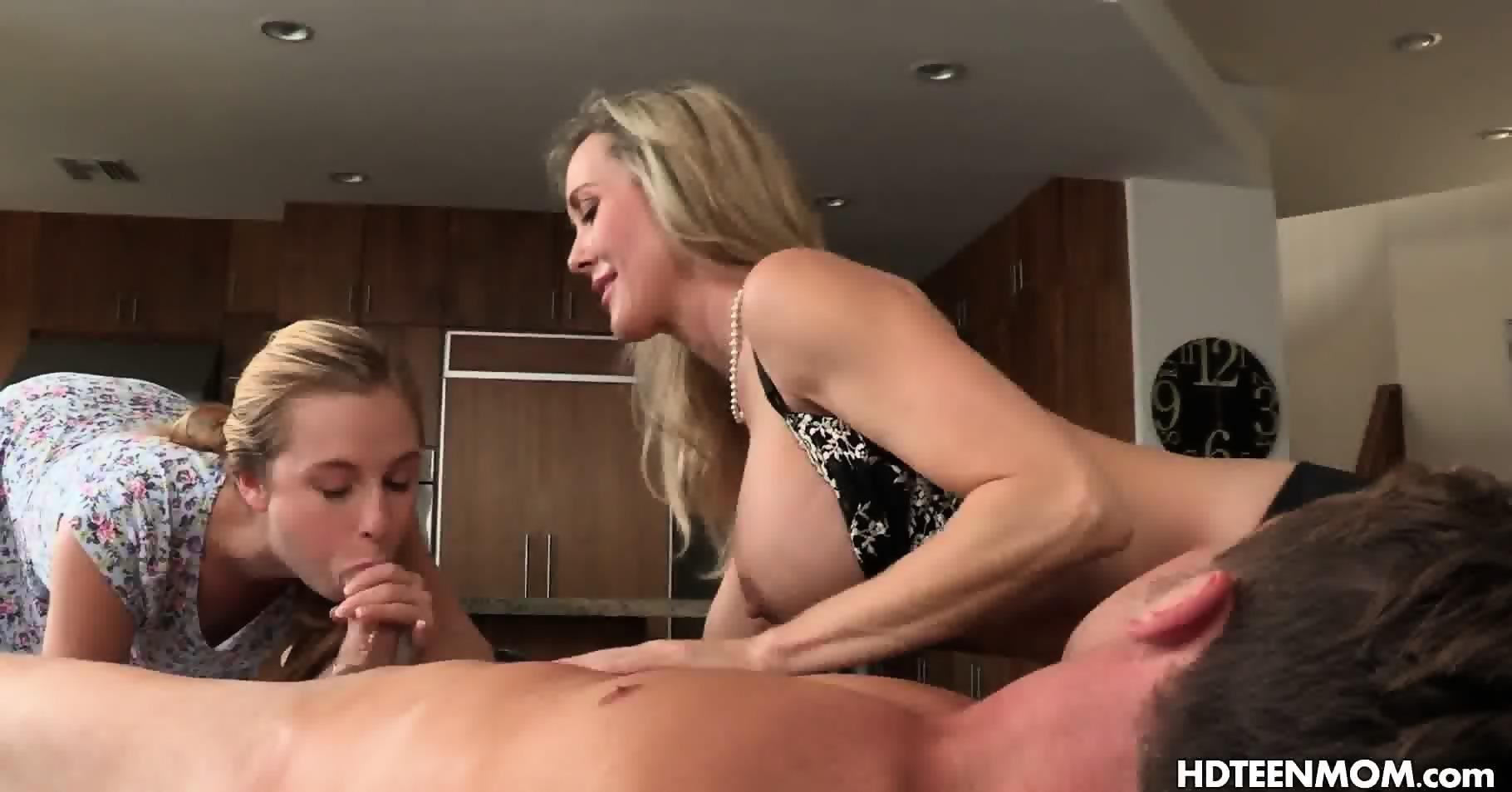 Lesbian Threesome Spit Kissing