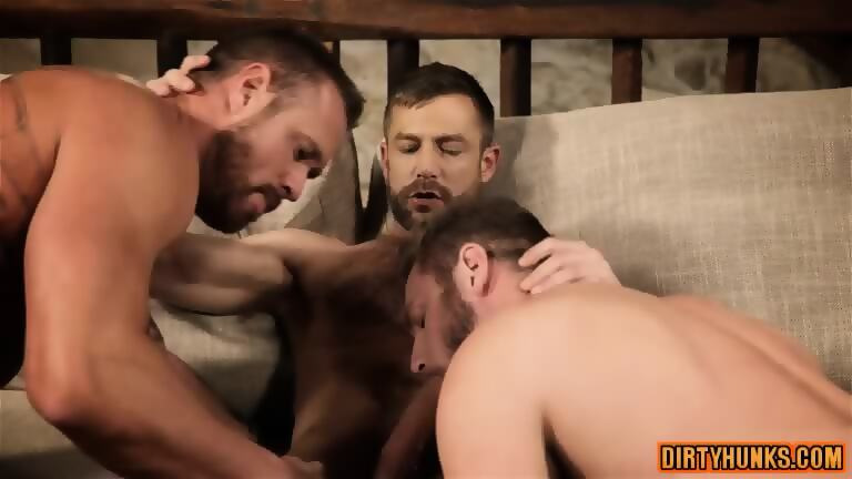 Muscle gay threesome
