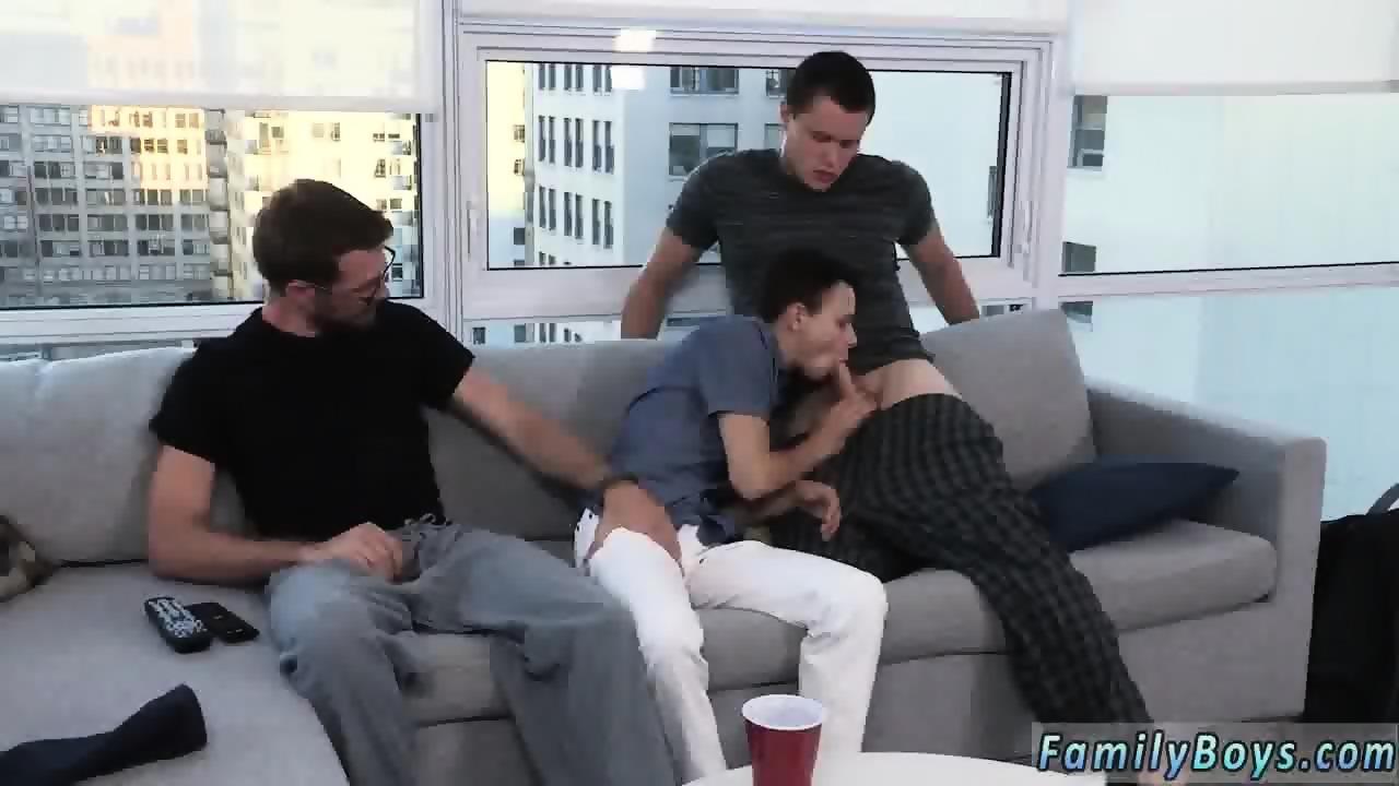 Cute boys enjoy fuck on the couch