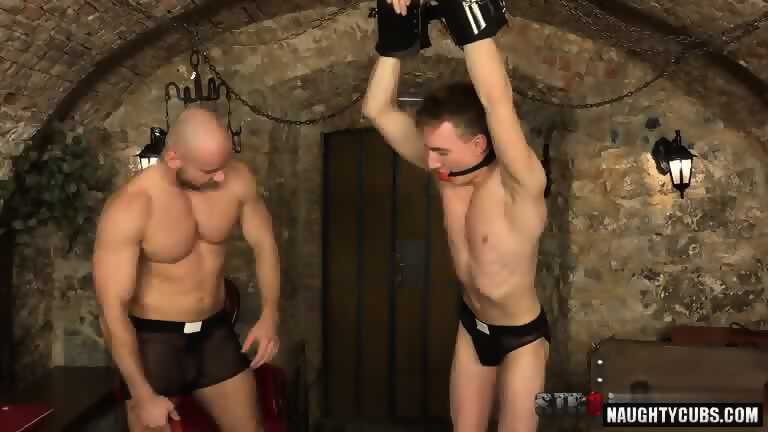 Hot gay spanking and cumshot