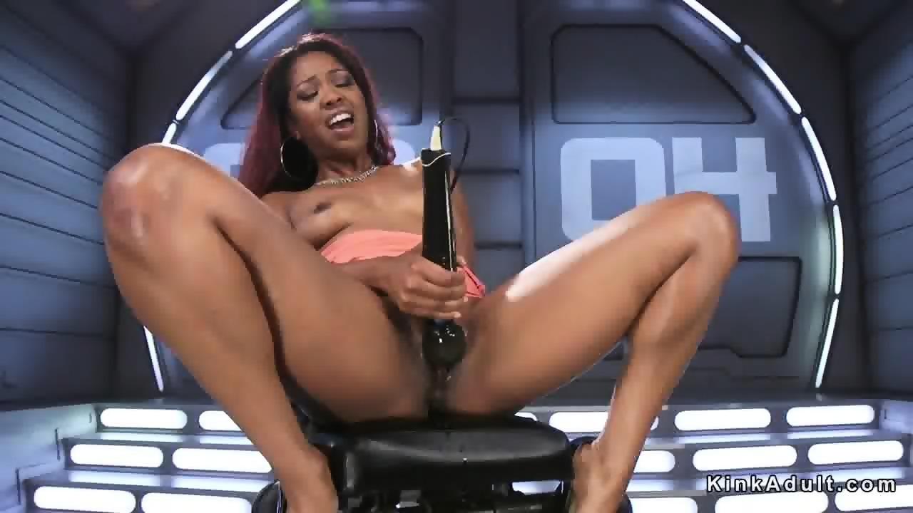 Ebony squirting and fucking machine - scene 2