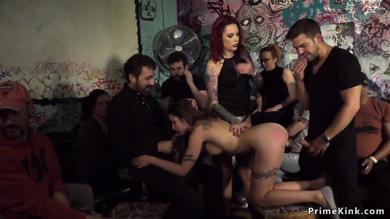 Naked cutie gangbanged in public bar - EPORNER