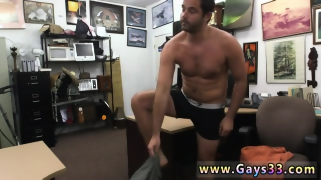 Gay hunk takes cumshot on chest