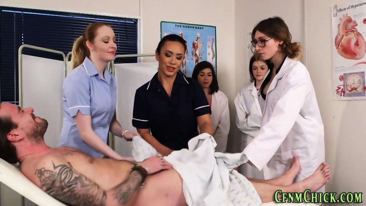 Clothed nurses cocks exam