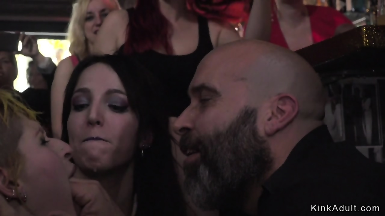 Blonde gets group fuck and facial in public bar - scene 1
