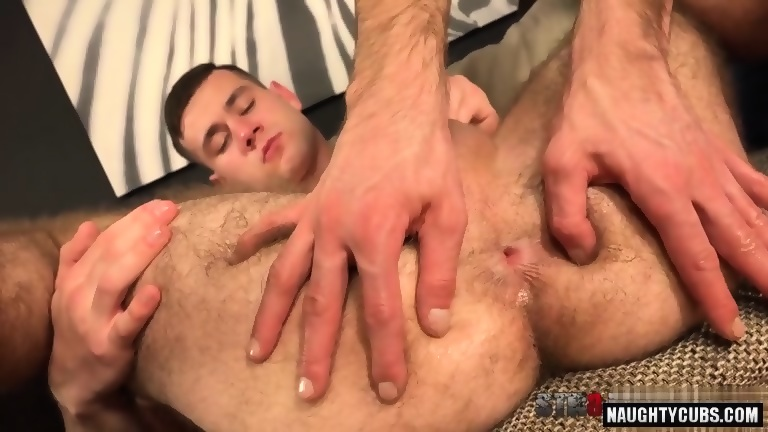 Hairy homosexual gaping with cumshot