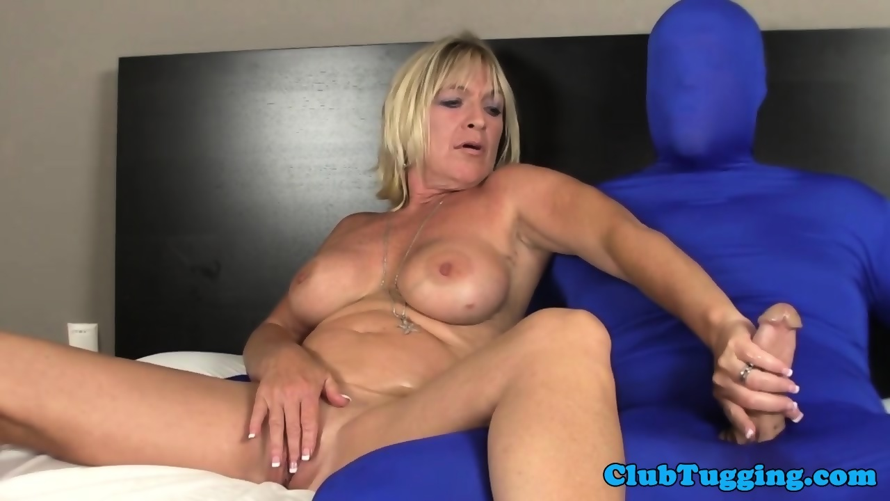 Busty Mature Tugging Dick Of A Man In Spandex Scene 4