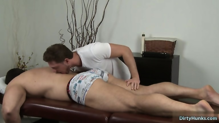 Muscle son oral sex and massage