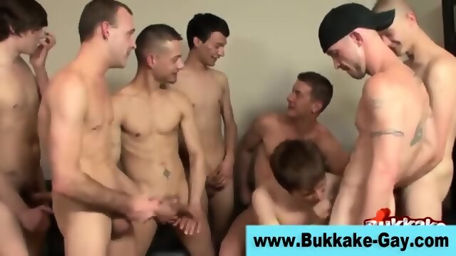 Gay group cock gobbling bukkake