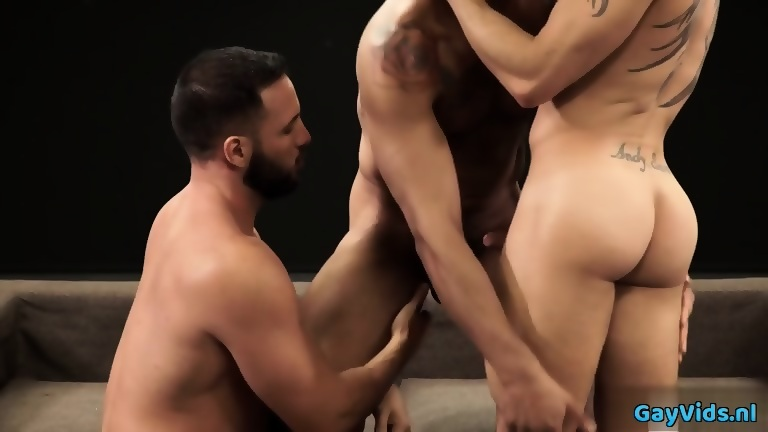 Tattoo gay 3some and cumshot