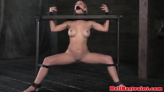 image Bondage sub darling stimulates her pussy