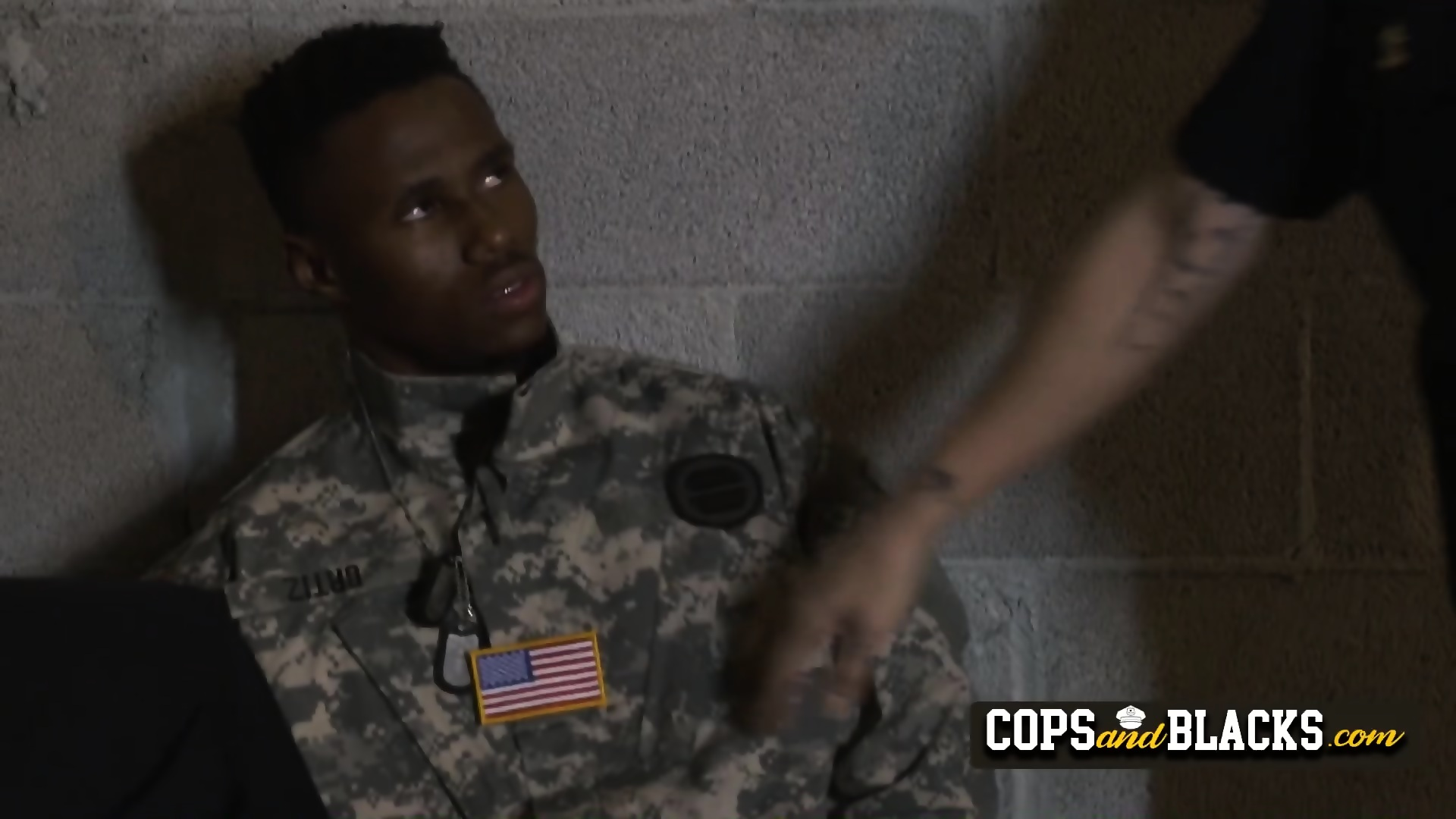 Milf cops get their mouths and cunt filled with fake soldiers big black cock  - scene
