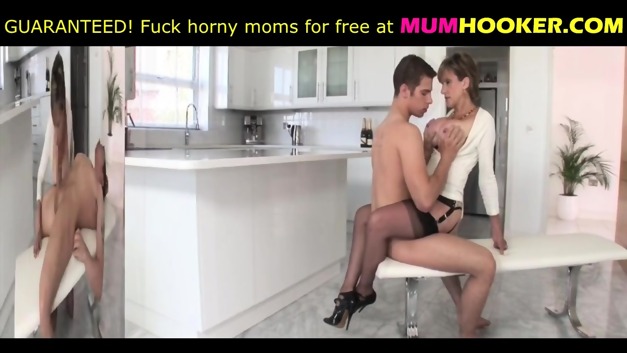Mom in sexy lingerie seduce her son and then fuck with him - scene 7