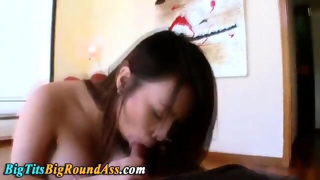 Big tits asian gags on cock