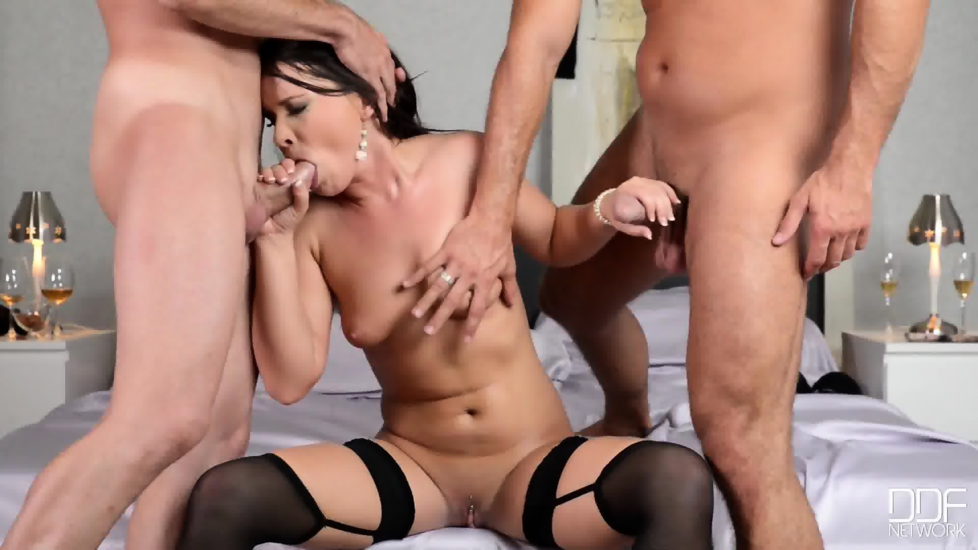 Ebony Sucks Two Black Cocks