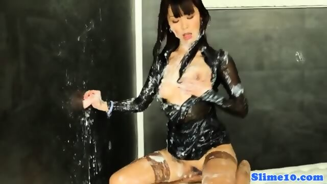 image Asian marcia hase gives footjob to gloryhole cock