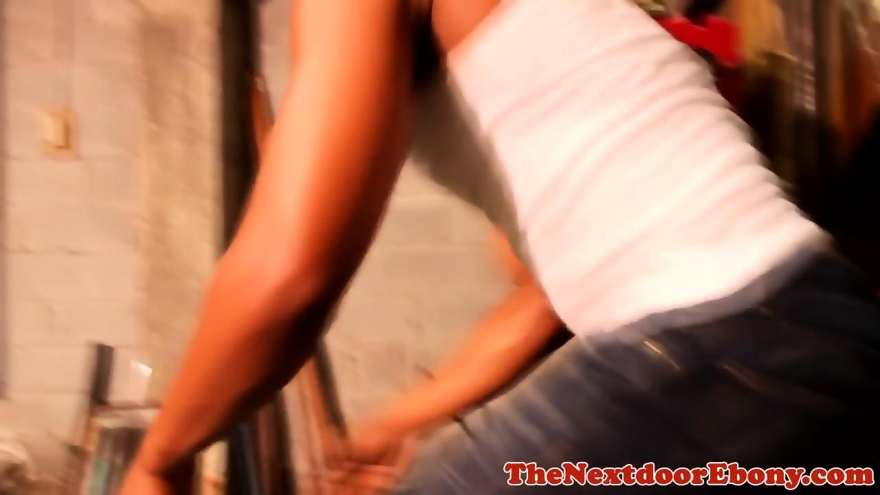 Ebony Cheating While Man Work