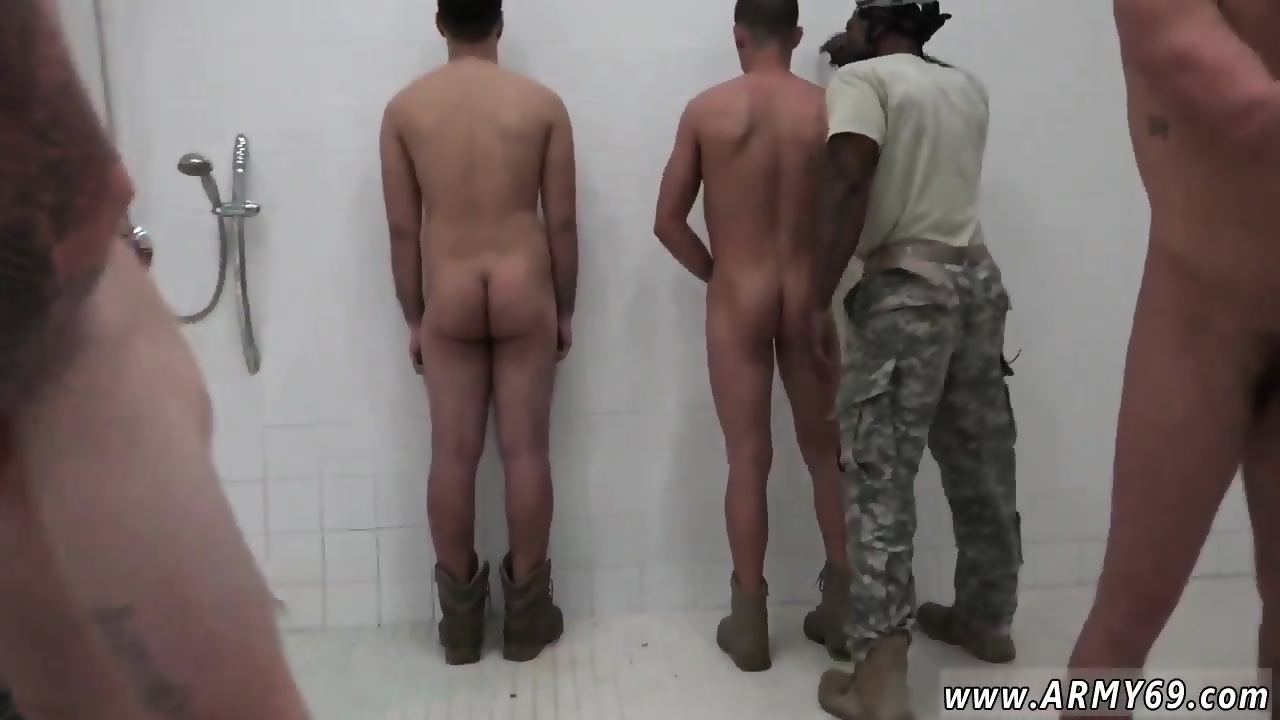 Nude military men in shower