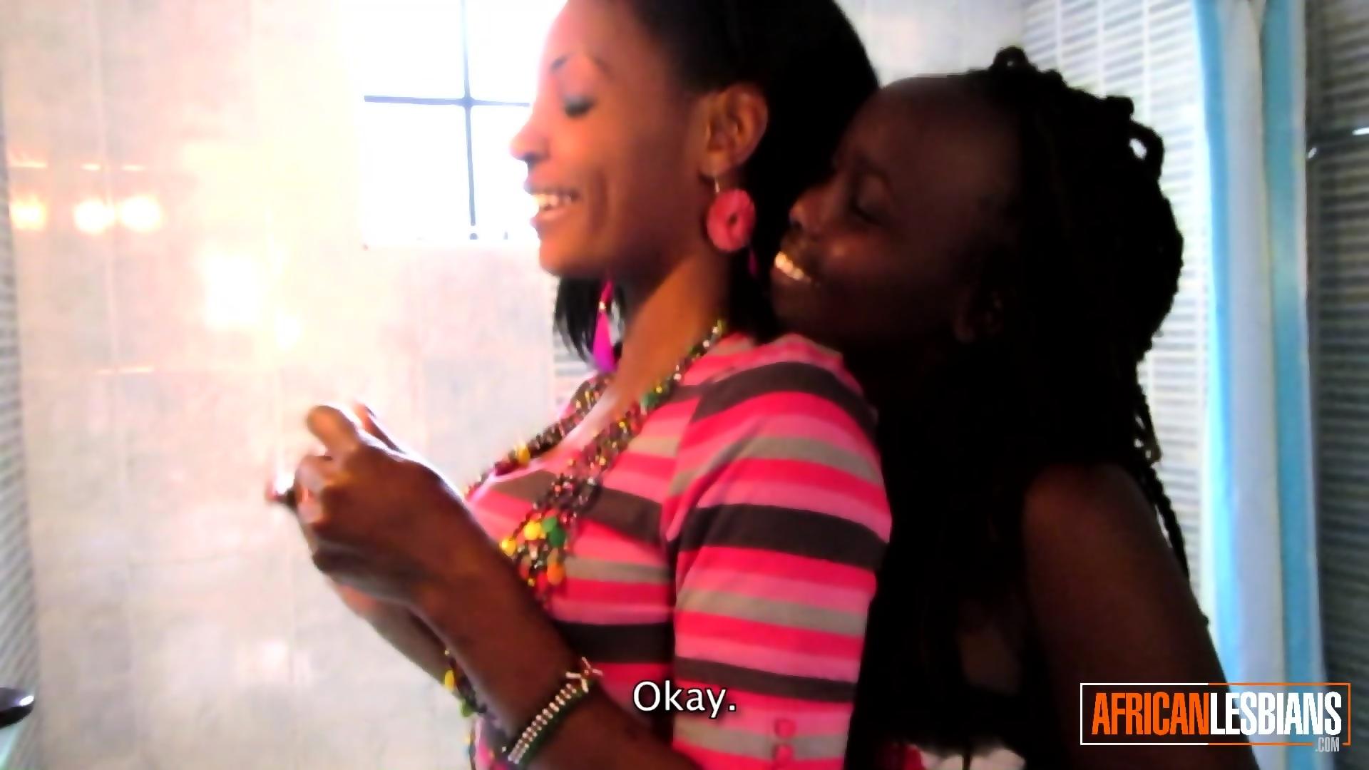 Ebony Lesbian Shower Dildo